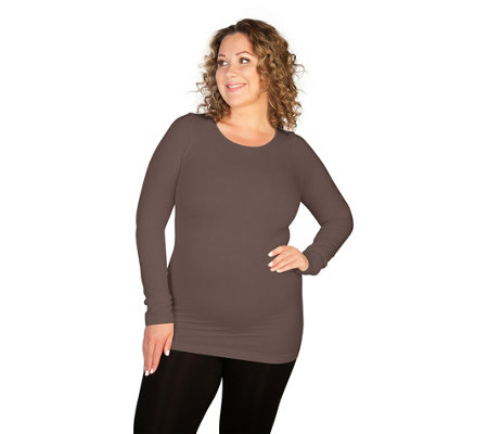 skinnytees Plus Long Sleeve Crew Neck