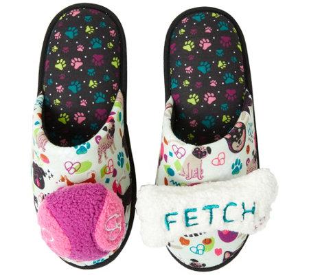 Dearfoams Women S Novelty Slippers With Detachable Bone Toys