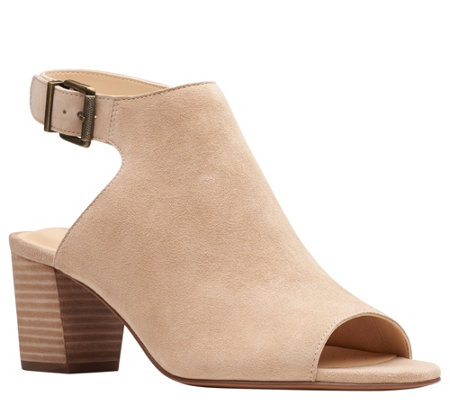 Clarks Leather Block-Heeled Sandals - Deloria Gia