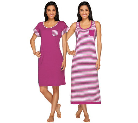 Carole Hochman Garden Side Stripe Tank Maxi & Sleep Shirt Set