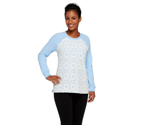"""As Is"" Denim & Co. French Terry Sweatshirt w/ Lace Front"
