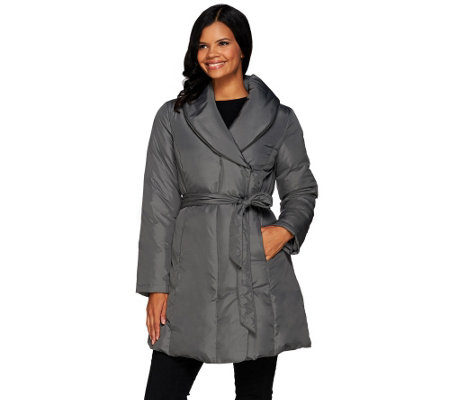 H by Halston Water-Repellant Shawl Collar Puffer Coat with Self Belt