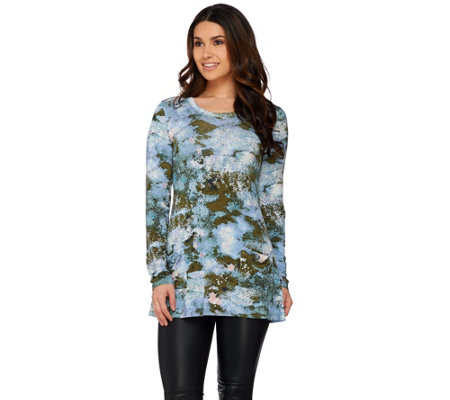 LOGO by Lori Goldstein Printed Knit Top with Front Pockets
