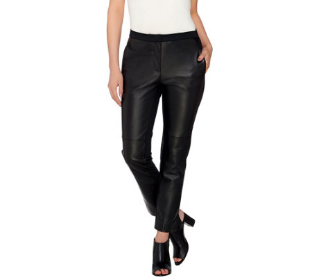 H by Halston Leather & Ponte Fly Front Ankle Pants