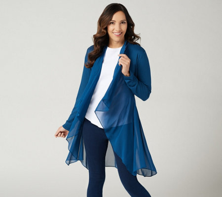 LOGO Lounge by Lori Goldstein Chiffon Cascade Cardigan with Tie Detail
