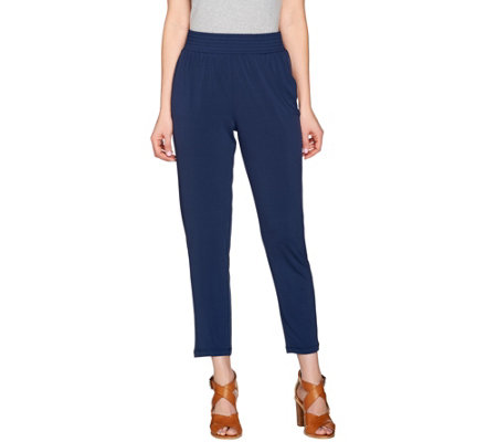 H by Halston Jet Set Jersey Ankle Pants with Smocked Waistband