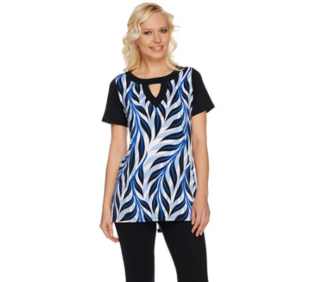 Bob Mackie's Palm Printed High-Low Hem Knit Tunic with Keyhole Neck