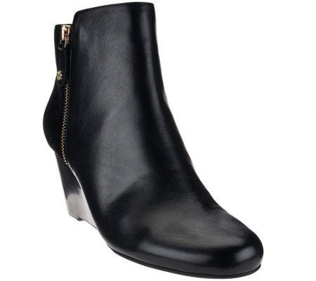 """As Is"" Isaac Mizrahi Live! Leather & Suede Wedge Ankle Boots"
