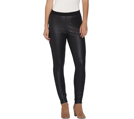 H by Halston Embossed Faux Suede Leggings with Zippers