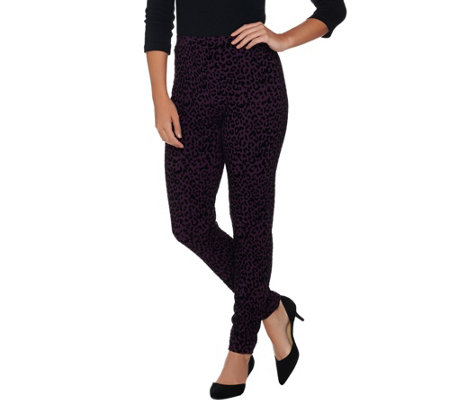 Susan Graver Weekend Flocked Cotton Spandex Leggings