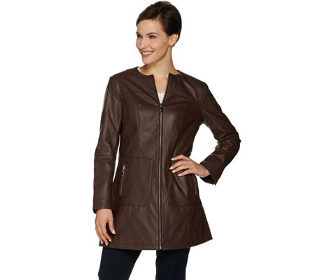 Dennis Basso Faux Leather Zip Front Topper Coat