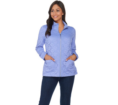 Denim & Co. Long Sleeve Lace Zip Front Jacket
