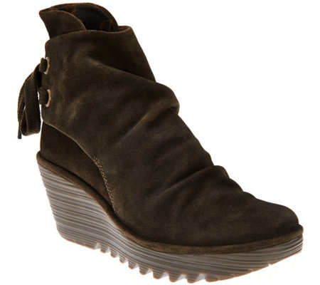"""As Is"" FLY London Suede Wedge Boots - Yama"