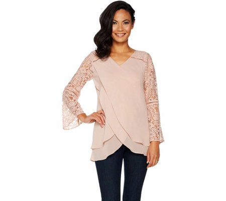 Laurie Felt Goddess Blouse with Lace Sleeves