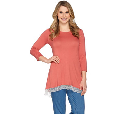"""As Is"" LOGO by Lori Goldstein Color-Block Knit Top with Lace Hem"
