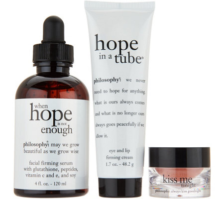 philosophy kissable skin, face, lip and eye treatment trio