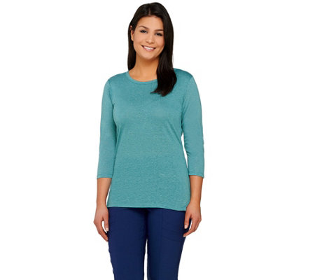 """As Is"" Lisa Rinna Collection 3/4 Sleeve Knit Top w/Back Detail"