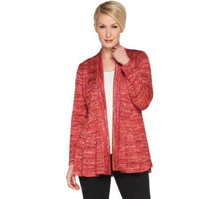 Susan Graver Space Dye Sweater Knit Cardigan with Godets