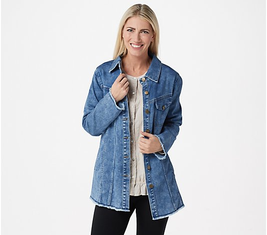 LOGO by Lori Goldstein Denim Jacket with Fringe Hem