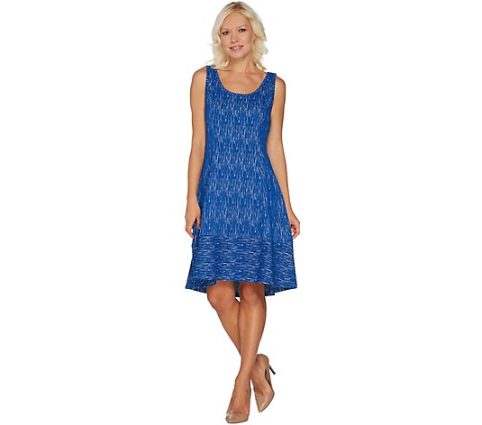 H by Halston Petite Knit Jacquard Dress with Hi-Low Hem