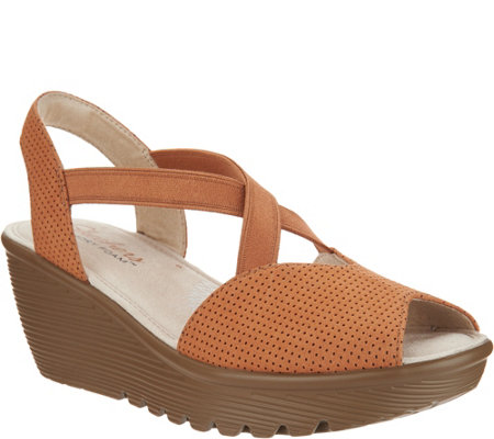 Skechers Peep-Toe Sling Back Wedges - Piazza