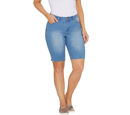 Susan Graver High Stretch Denim Bermuda Shorts - Indigo