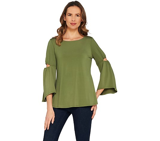 H by Halston Jet Set Jersey 3/4 Sleeve Top with Cut-Out Detail
