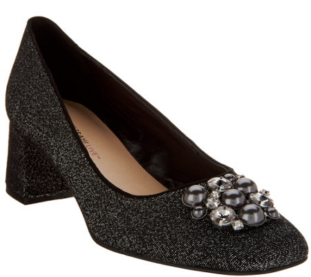 """As Is"" Isaac Mizrahi Live! Embellished Block Heel Pumps"