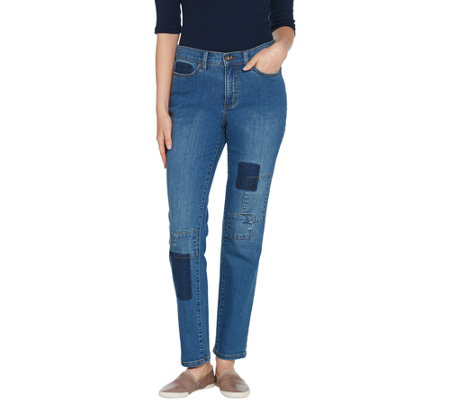 Studio By Denim Co Classic Denim Shadow Patch Ankle Jeans