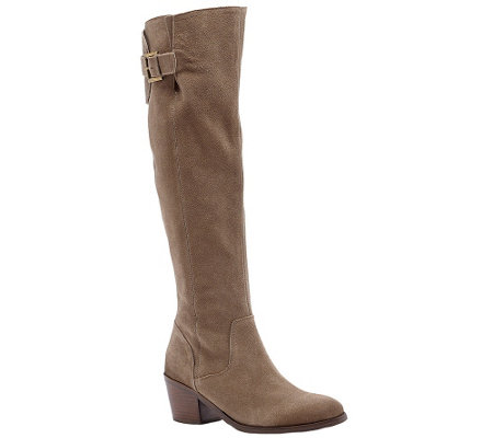 Sole Society Suede Leather Tall Boots - Hollyn