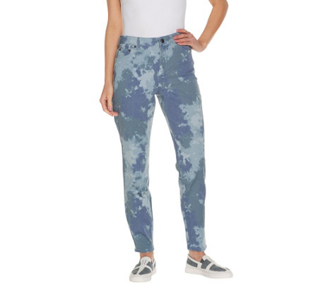 """As Is"" LOGO by Lori Goldstein Petite Printed Stretch Twill Ankle Jeans"