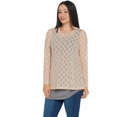 Logo Layers By Lori Goldstein Stretch Lace Top With Knit Details