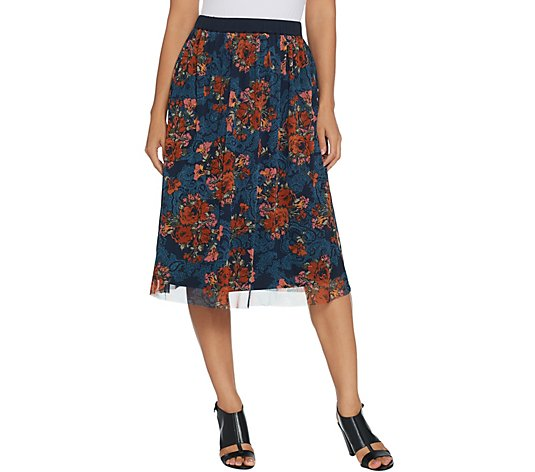 Du Jour Pull-On Lined Floral Printed Mesh Skirt