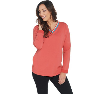 Denim & Co. Active Long-Sleeve Rib Trim V-Neck Top