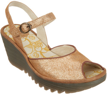 """As Is"" FLY London Leather Peep-Toe Wedges - Yora"