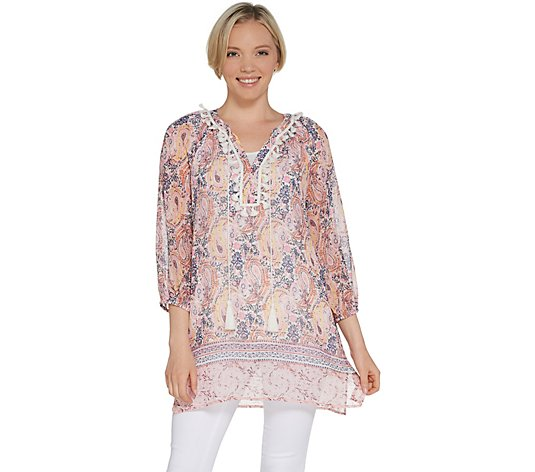 """As Is"" Susan Graver Printed Sheer Chiffon Tunic and Knit Top Set"