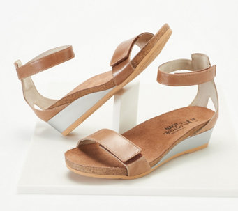 ca9fb4bc868b83 Naot Leather Ankle Strap Wedge Sandals - Mermaid - A350245