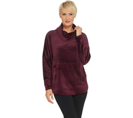 """As Is"" AnyBody Loungewear Velour Oversized Cowl Pullover Top"