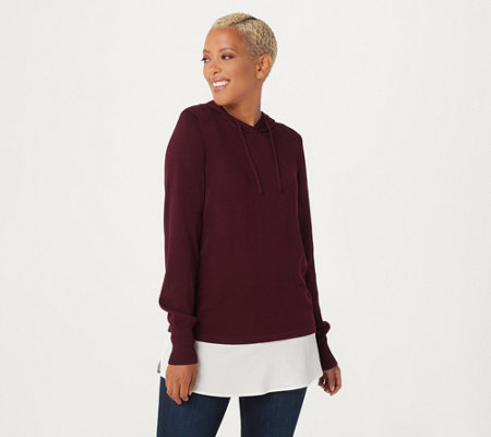 Susan Graver Cotton Rayon Hooded Sweater with Woven Combo Trim