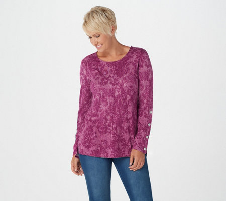Susan Graver Weekend Printed Cotton Modal Top with Snaps