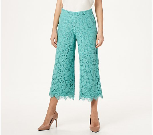 """As Is"" Isaac Mizrahi Live! Regular Floral Lace Knit Culotte Pants"