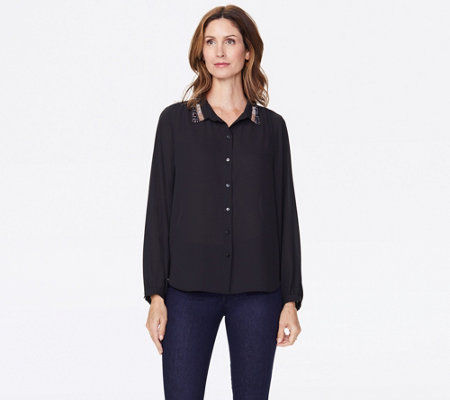NYDJ Modern Blouse with Embellished Collar