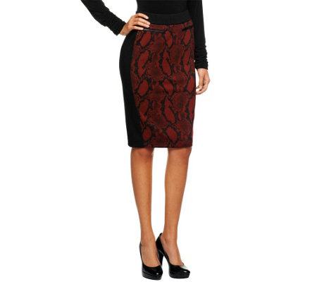 Kris Jenner Kollection Pull-On Printed Knit Skirt
