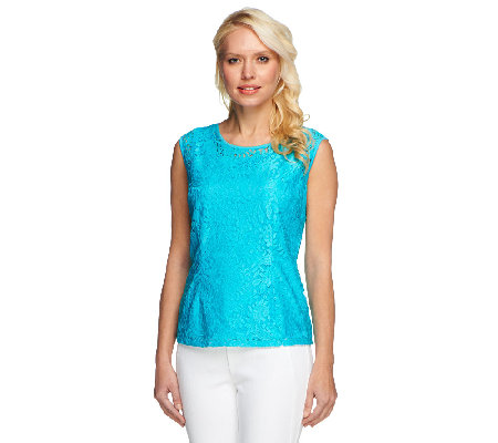 Linea by Louis Dell'Olio Lace Cap Sleeve Top w/ Lining