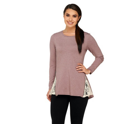 LOGO Lounge by Lori Goldstein French Terry Top with Side Zippers