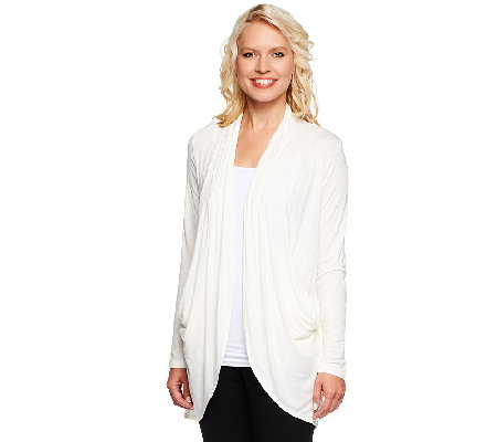 """As Is"" LOGO by Lori Goldstein Slub Knit Cocoon Draped Cardigan"