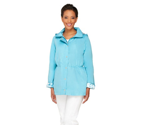 Dennis Basso Water Resistant Anorak Jacket with Detachable Hood