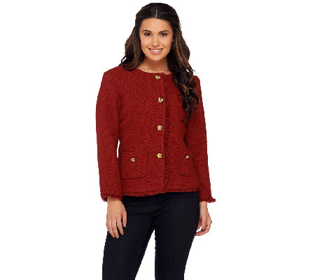 Joan Rivers Boucle Jacket w/ Self Fringe and Bracelet Sleeves