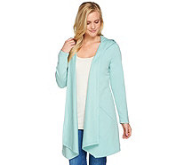 Denim & Co. Open Front Hooded Jacket with Pockets - A277646