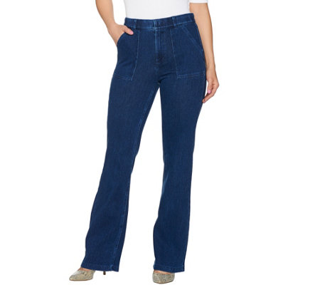 Isaac Mizrahi Live! Regular Knit Denim Flared Jeans w/ Patch Pockets